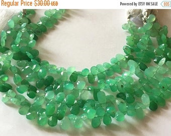 Exclusive Quality Natural Chrysoprase faceted Briolette Pear 5x7 mm approx , 9 inch strand