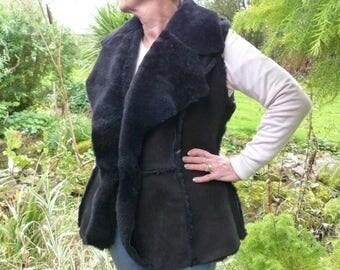 Handmade Ladies British Toscana Sheepskin Gilet in Black