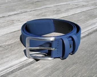 leather belt, men leather belt, women leather belt, blue leather belt, wide belt, jeans blue belt, classic belt, thick belt, casual belt