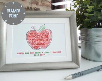 Personalised Apple for the Teacher Framed Print, Personalised Teacher Print, Personalised Teacher Thank You Framed Print, Teacher Gift,