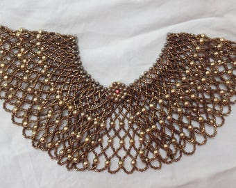 C1930s beaded bronze colour collar complete  approx 15.8 inches. Clothes accessory or wear on own as choker necklace.