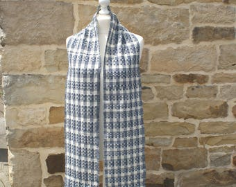 Large blue and white scarf unisex hand woven