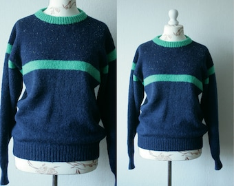 Vintage knitted blue green women's sweater Crew neck soft cozy comfy winter pullover Warm winter jumper 90's women's Oversized sweater