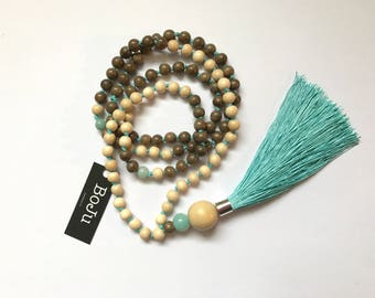 Mala beads - Wooden Mala - Mala Necklace - 108 Mala - meditation beads - yoga beads - Long Tassel Mala - prayer beads - hand knotted Mala