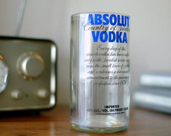 Set of Absolut vodka Glasses / Tumblers- Made From Recycled Bottles