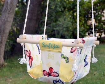 White baby swing - Personalized Baby girl swing - Kids swing - Toddler swing - Girl Baptism gift - Nursery swing - Outdoor swing