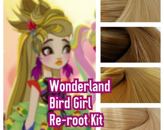 Ever After Wonderland Background Bird Girl Blonde Hair Girl Doll Hair Rerooting Pack for Customizing Rooting your own OOAK Doll INTL SHIP