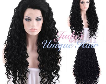 Long Spiral Curly Jet Black Lace Front Wig Heat Resistant