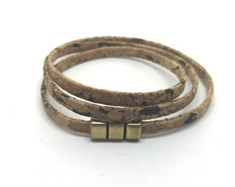Cork wrap bracelet 5 mm wide with magnetic closure