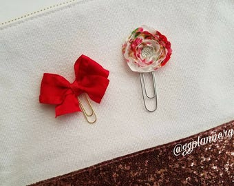 Red Bow/Silk Floral Rosette/Valentine's Day Planner Clips