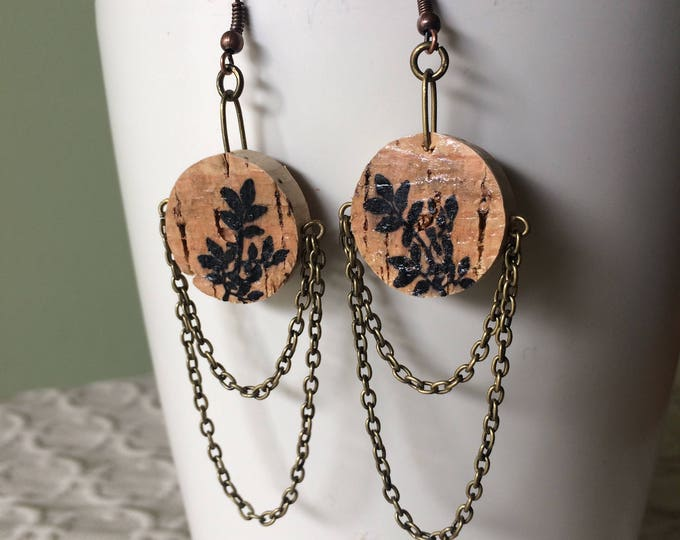 Botanical chandelier earring - bronze chain