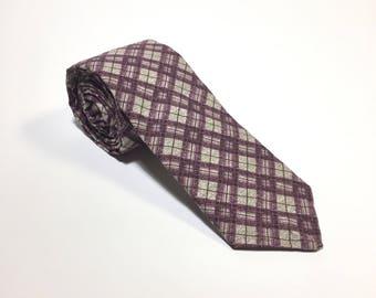 Wedding Tie, Neck Tie, Plaid Pattern, Purple tie, wedding accessory, Cotton necktie, Suit Accessory, Menswear accessory, Wedding Necktie
