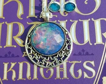 Merlin Faux Opal Jewelry, Blue Fire Opal Gems, Fairytale Jewelry, Fantasy, Fire Opal Earrings, Fire Opal Pendant, Wizard Jewelry