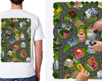 Car Play Mat Shirt for Dad. Race Track Shirt. Play set. Road Map Shirt. Massage Shirt. Father's Day for Dad and Son. Maps Dad. US Map