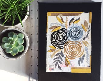 Original Flower Painting// Paint Torn Paper Collage // Original Collage & Painting // Black, Gold, Yellow Flowers // 9 x 12 Inch Painting