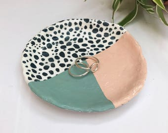 Spotty Ring Dish, Trinket Dish, Pinch Pot, Jewellery Dish, Hand Painted, Hand Moulded