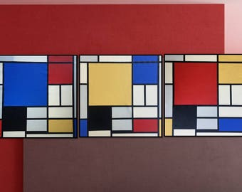 Geometric Abstraction. Classical Composition. Abstract Classicist. 3 Piece Wall Art.
