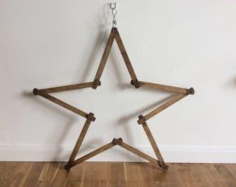 Vintage Wooden Meter - Vintage Wooden Star- Wooden meter - Star decoration - Wooden star - Carpenter Tool - Measuring Tool - Folding Meter