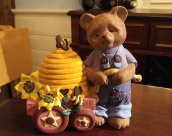 Summer Bear with beehive & Wagon