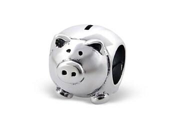 Silver Piggy Bank Charm Bead, fits Pandora Bracelets