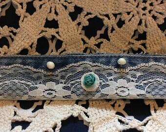 Teal Rose & Lace Bracelet