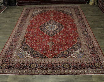 Great Shape Traditional Handmade Kashan Persian Rug Oriental Area Carpet 10X14