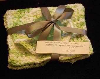 Package: 3 handmade washcloths, 1 bar of soap