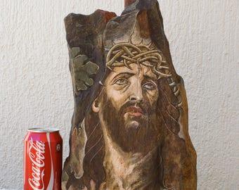 JESUS CHRIST Nazarene HANDPAINT On Stone Christian Agiography Crucified Original