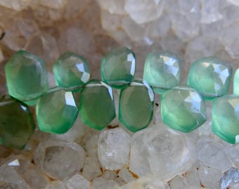 Gorgeous Russian Green Serpentine | Faceted Hexagon Fancy Cut Briolettes | 8.5x5.5-9x6mm Top Drilled Beads | Matched Pairs or Set of 4 Beads