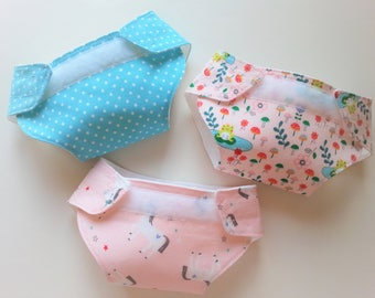 Doll Diapers-Doll Clothes-Doll Accessories-Unicorns-Pretend Play-3 PC Set-Bitty Baby Diapers-Baby Doll Diapers-Girls Gift-Doll Play Set