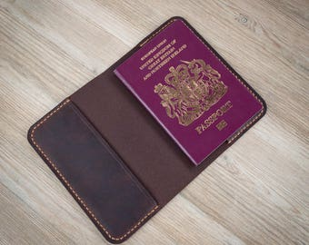 Leather Passport Cover, Leather Passport Holder, Leather UK Passport Cover, British Passport Cover, Sleeve, Distressed Leather