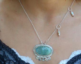 Sterling Aquamarine necklace sterling metalwork necklace silversmith pendant sterling silver aquamarine pendant organic gypsy pendant boho