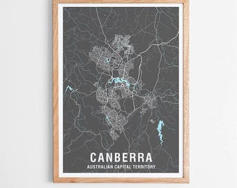 Canberra City Map Print Various Colours - Two-tone / Australian Capital Territory / ACT / City Print / Australian Maps / Giclee Print