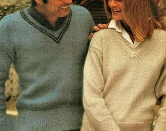 His and Hers V Necked Sweaters knitting Pattern pdf