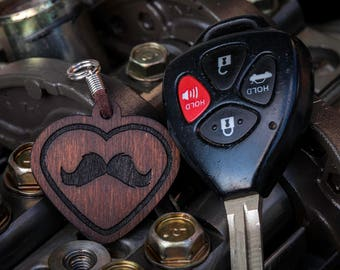 Love Mustache Double Sided Wood Keychain
