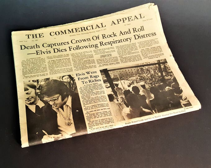 Featured listing image: Elvis Presley Death Shown in Memphis Commercial Appeal August 17, 1977 Articles of Cause of Death Fireman Account of Call to Graceland