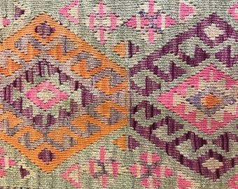 Vintage Kurdish Kilim - Subtle & Dynamic