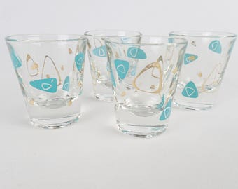 FEDERAL AMOEBA SHOT glasses set of four jiggers Contemporary #4695 boomerang 238