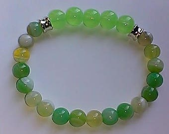 Apple Jade and Agate Stretch Bracelet