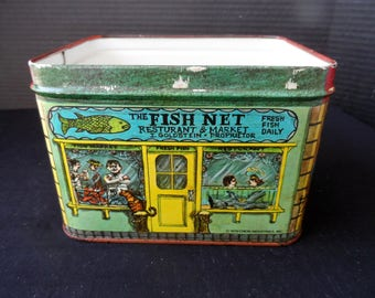 Vintage 1979 Cheinco Industries Tin Canister  The Fish Net,The Coffee Pot, Jake's Barber Shop  1400