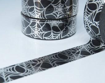 Black Cobweb With Silver Foil Washi Tape - Spider WebTape