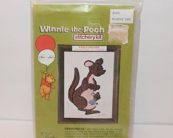 Vintage Winnie The Pooh Stitchery Kit Kanga and Roo Sears Roebuck and Co.