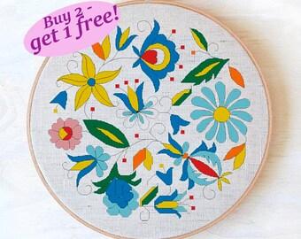 Floral round cross stitch pattern, polish folk art cross stitch pattern, easy geometric cross stitch pattern, flowers pattern PDF