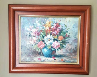 Original Oil Painting W.Adams Canvas Still Life Flowers Framed Signed Art Collectable