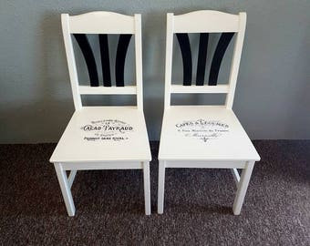 Restored Ooak Dining/Kitchen Chairs Unique Black White Solid Wood French Typography Script