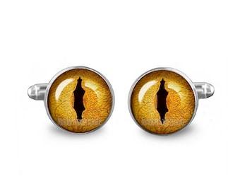 Dragon Eyes Cuff Links Reptile Eyes Cuff Links 16mm Wedding cufflinks Gift for Men Groomsmen Novelty Cuff links Fandom Jewelry