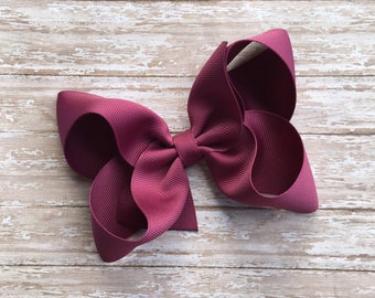 Wine Boutique hair bow, hair bows, solid color hair bows, large hair bows, Thanksgiving hair bows, holiday hair bow, boutique bow,