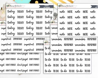 Script/Bold Lettering Planner Stickers | for use with Erin Condren Lifeplanner™, Filofax, Personal, A5, Happy Planner