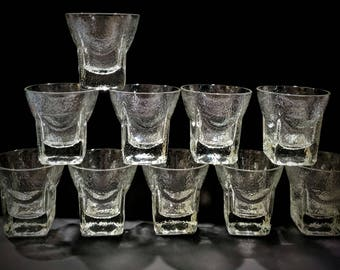 St. Regis On The Rocks Glasses Libbey Mid-Century 1950s Barware Mad Men Square Bottom Clear Textured Glasses Rocks - Set of 10