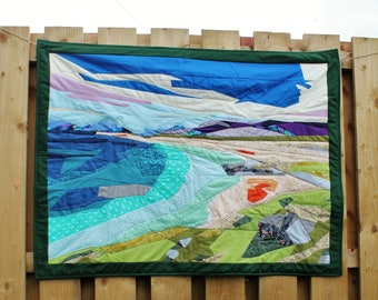 Seascape custom quilted blanket - Handmade wedding gift - Unique anniversary present - Beach seaside landscape quilt art wall hanging